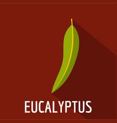 Eucalyptus leaf icon flat style vector