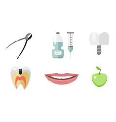 Flat health care dentist medical tools medicine vector