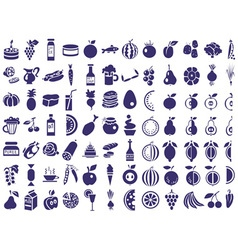 food icons on white vector image vector image