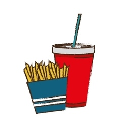 French fries and soda drink vector