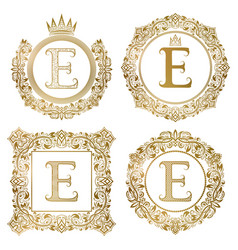 Golden letter e vintage monograms set heraldic vector