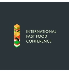 International fast food conference template logo vector image