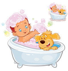 little baby taking a bath and playing with vector image