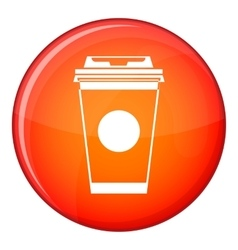Paper coffee cup icon flat style vector