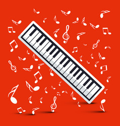 Piano with notes on red background vector