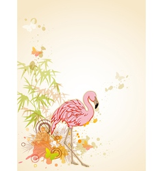 pink flamingo and butterflies vector image