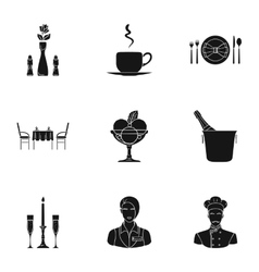 Restaurant set icons in black style big vector