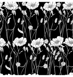 Seamless wallpaper with decorative flowers vector image