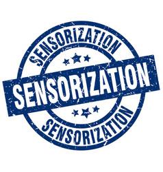 Sensorization blue round grunge stamp vector