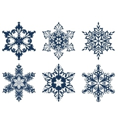 Set of 6 blue snowflakes vector image