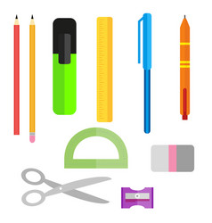 set of school supplies pens pencils scissors and vector image vector image