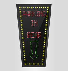 shining retro light banner parking in rear vector image vector image