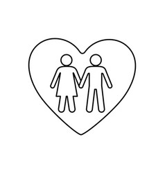 Sketch silhouette couple inside of heart icon vector