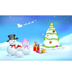 Snowman Family with Christmas gift vector image vector image