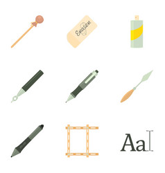 stationery icons set cartoon style vector image