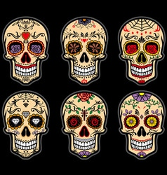 Sugar skull day of the dead set vector