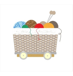Thread balls of yarn with spokes basket vector