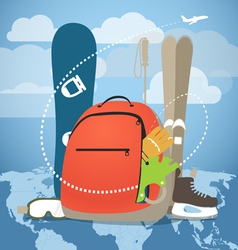 Winter vacation sports equipment vector image