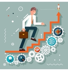 Infographic Ladder Stairs Businessman Goes to vector image