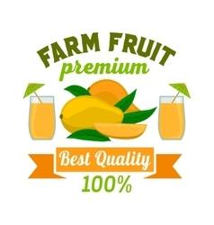 Mango premium exotic tropical fruit juice emblem vector