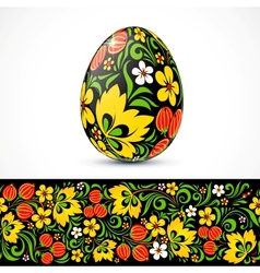 Traditional ornate easter eggs sticker design vector