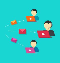 customer support team  assistance operators vector image