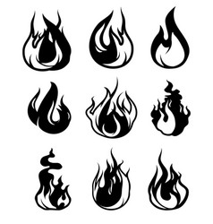 monochrome symbols of flame black icons vector image