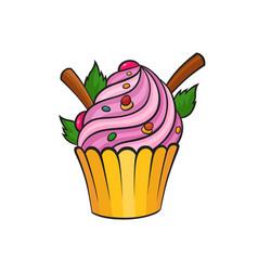 Pop art style cake sticker vector
