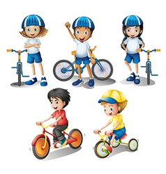 Kids with their bikes vector