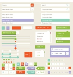 Flat elements design ui set vector