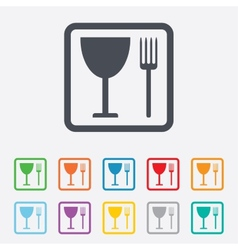 Eat sign icon cutlery symbol fork and wineglass vector