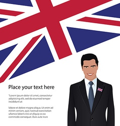 Man wearing suit united kingdom flag vector