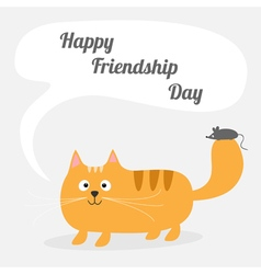 Red cat and mouse happy friendship day vector
