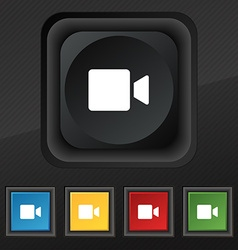 Video camera icon symbol set of five colorful vector