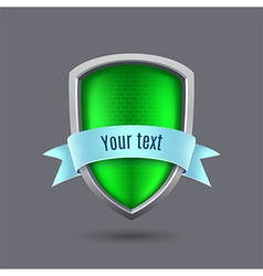 Green metal shield on gray background vector
