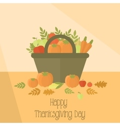 Thanksgiving day basket with pumpkins vector
