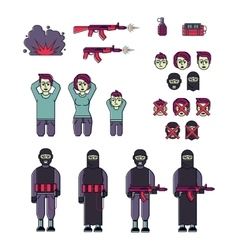 Icon set of men women terrorist and victim vector