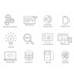 Programmer software developer thin line icons set vector