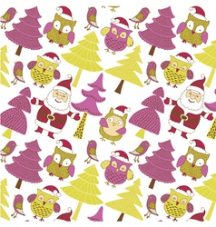 Santa and xmas owls vector
