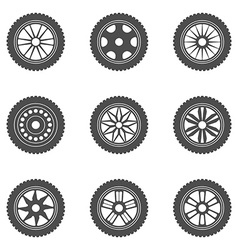 Set of car rims tires vector