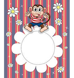 A stationery with a monkey and flowers vector image vector image