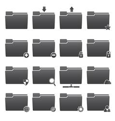 Basic Folder Icons Set vector image vector image