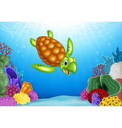 Cartoon funny turtle with beautiful underwater vector image vector image