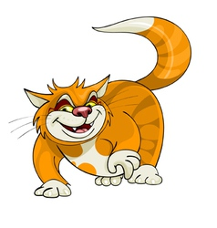 Cartoon yellow cat walks vector