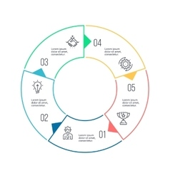 Circular chart diagram with 5 steps options vector image vector image