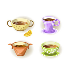 cups tea mugs and soup bowls different shape vector image vector image
