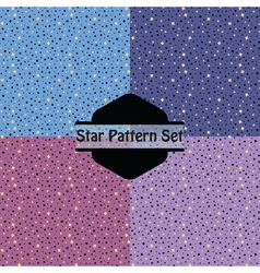 Cute golden stars pattern set in pink purple and vector image vector image