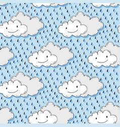 Doodle hand drawn seamless pattern with cute vector