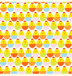 Easter egg and chicken seamless pattern background vector
