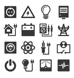 energy electricity icons set vector image